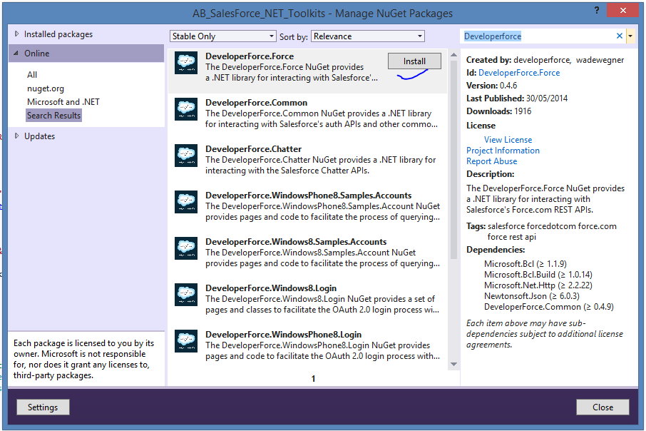 Integrating salesforce Using the DeveloperForce Toolkit for  NET